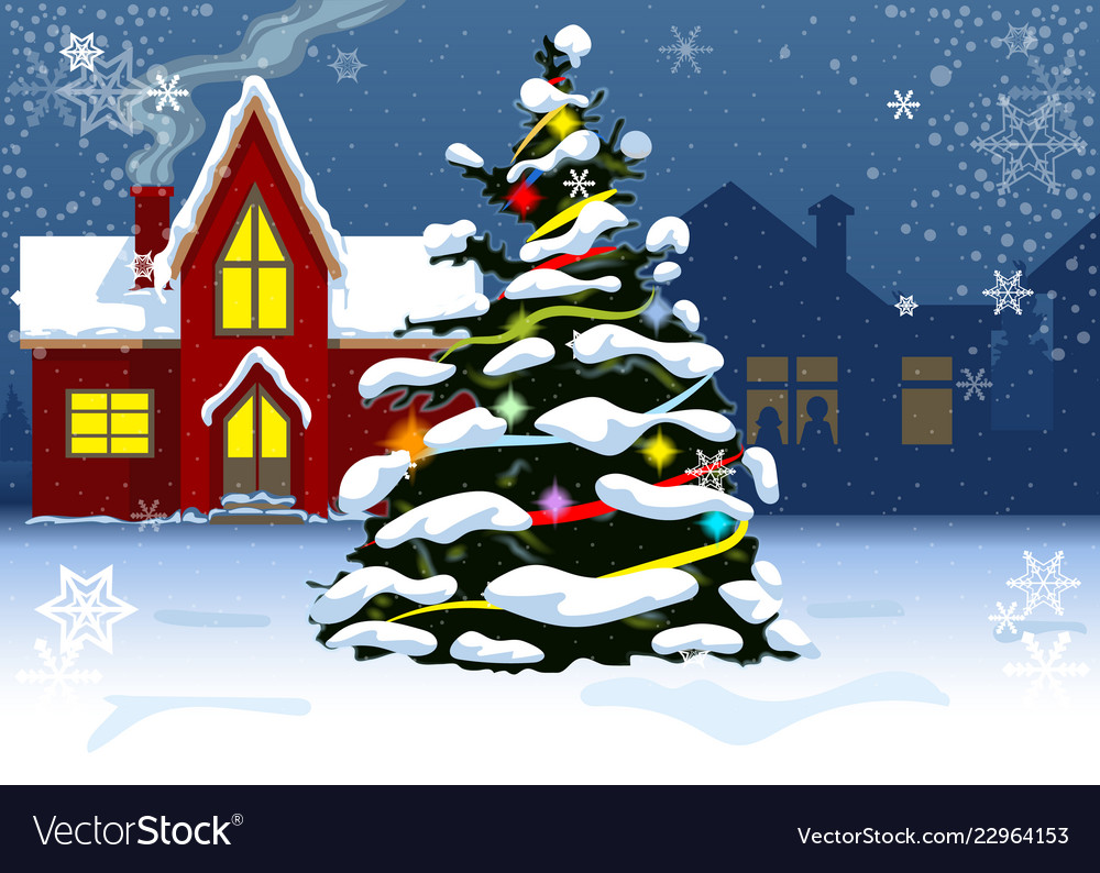 Christmas tree near residential houses in the