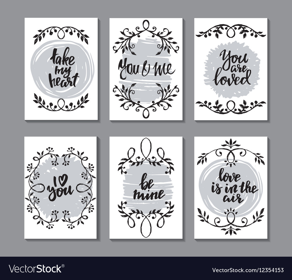 Collection of romantic and love cards with hand