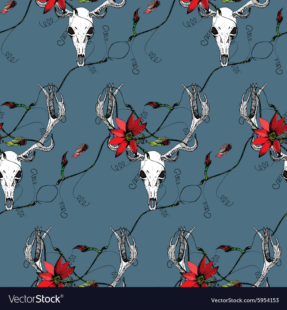 Deer Skull and passion flower blue pattern