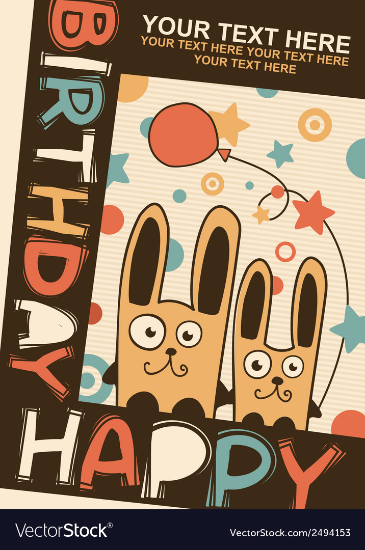 Happy birthday card with rabbits vector