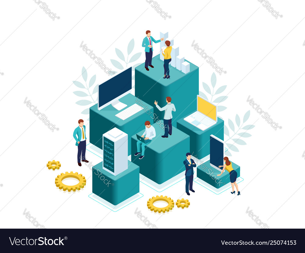 Isometric people work in a team and achieve the