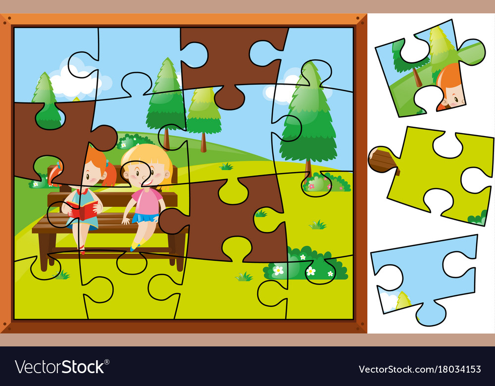 Jigsaw Puzzle Pieces For Kids Reading In Park Vector Image