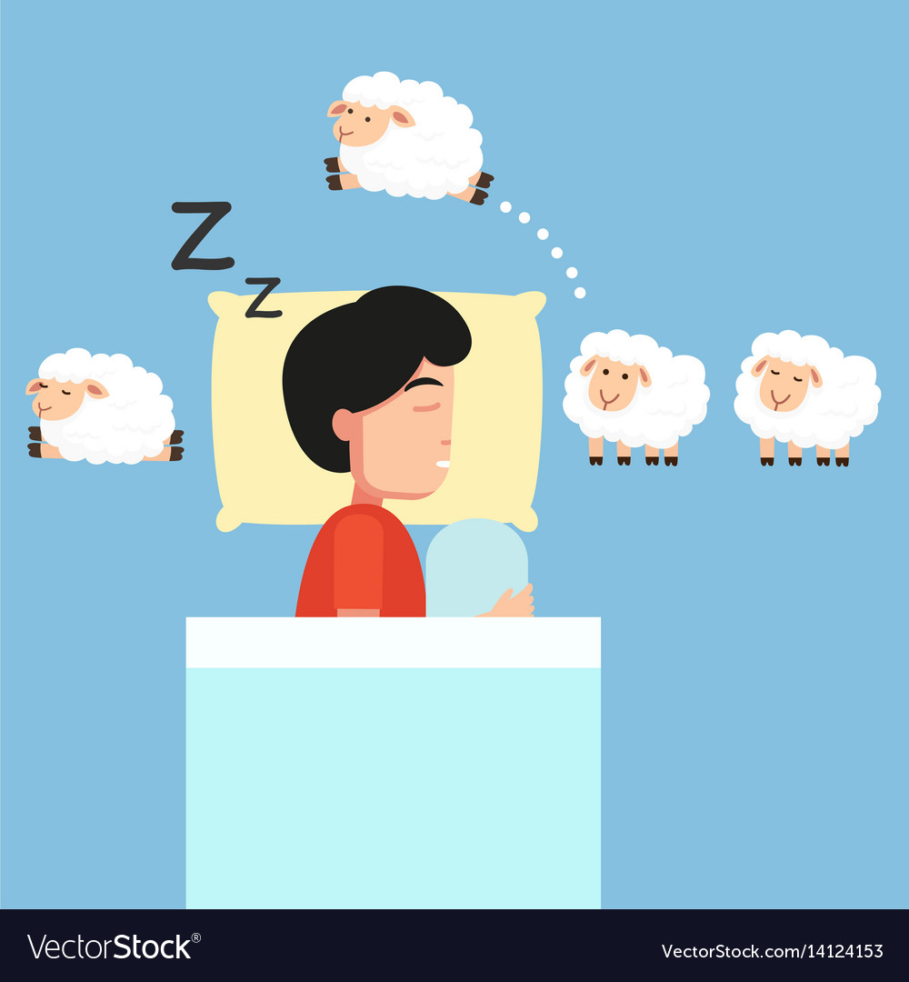 Man sleepingcounting sheep to fall asleep vector image