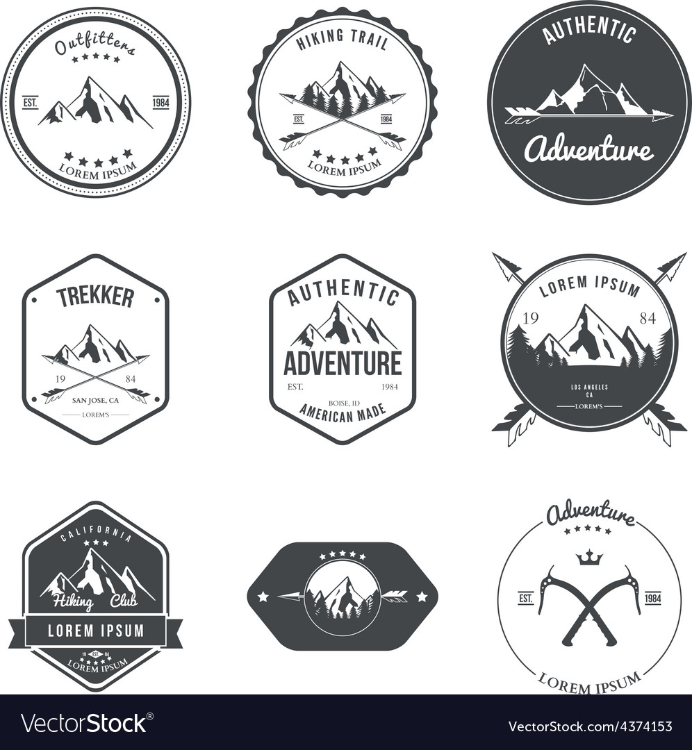 Mountain adventure hiking explorer equipment vector image