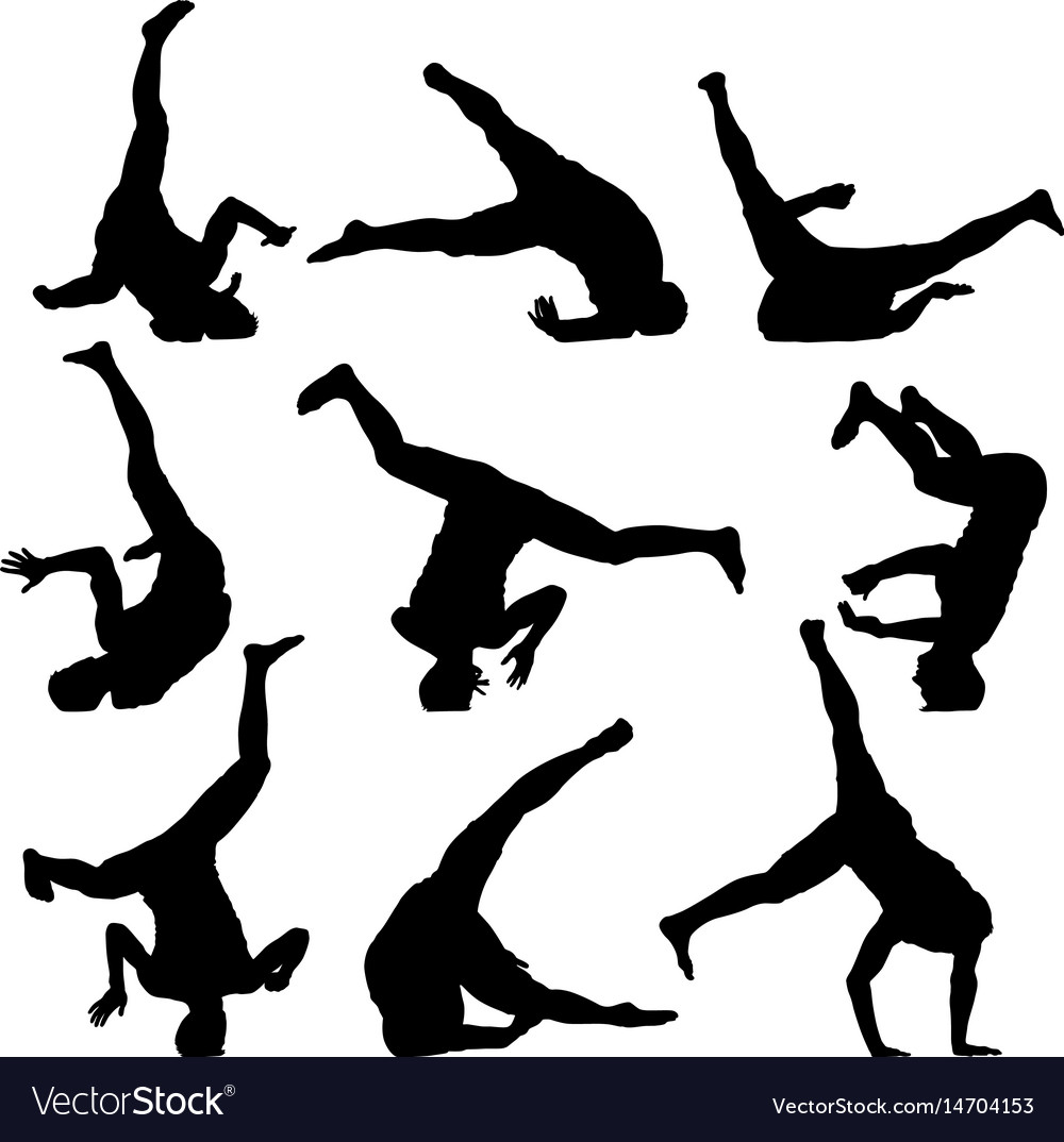Set black silhouettes breakdancer on a white