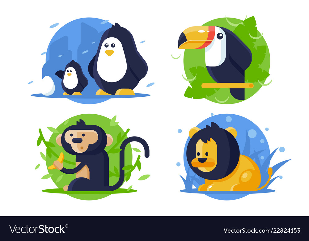 Set icon animals with lion penguin monkey