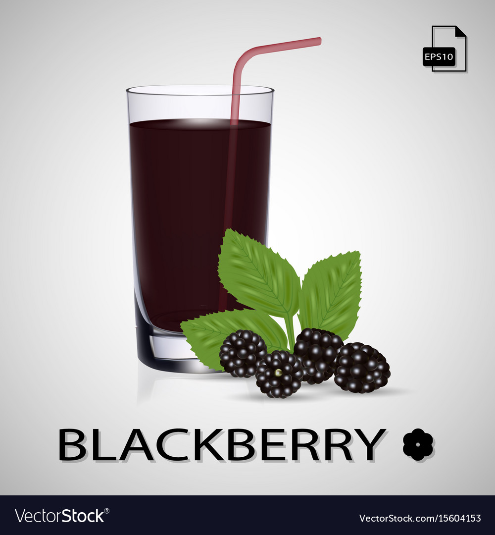 Set of blackberry juice and fresh berries isolated
