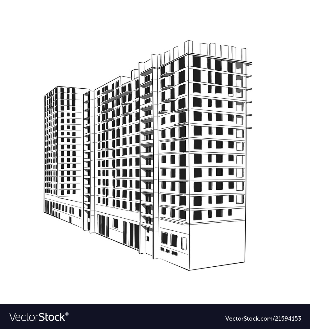 Sketch Construction Site City Hand Draw Royalty Free Vector