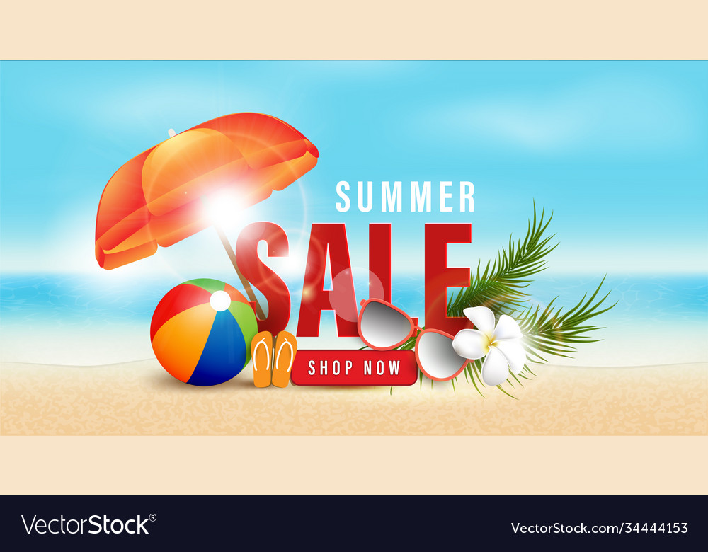 Summer sale and beach holidays elements promotion