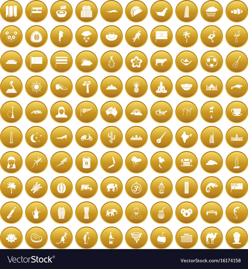 100 exotic animals icons set gold vector image