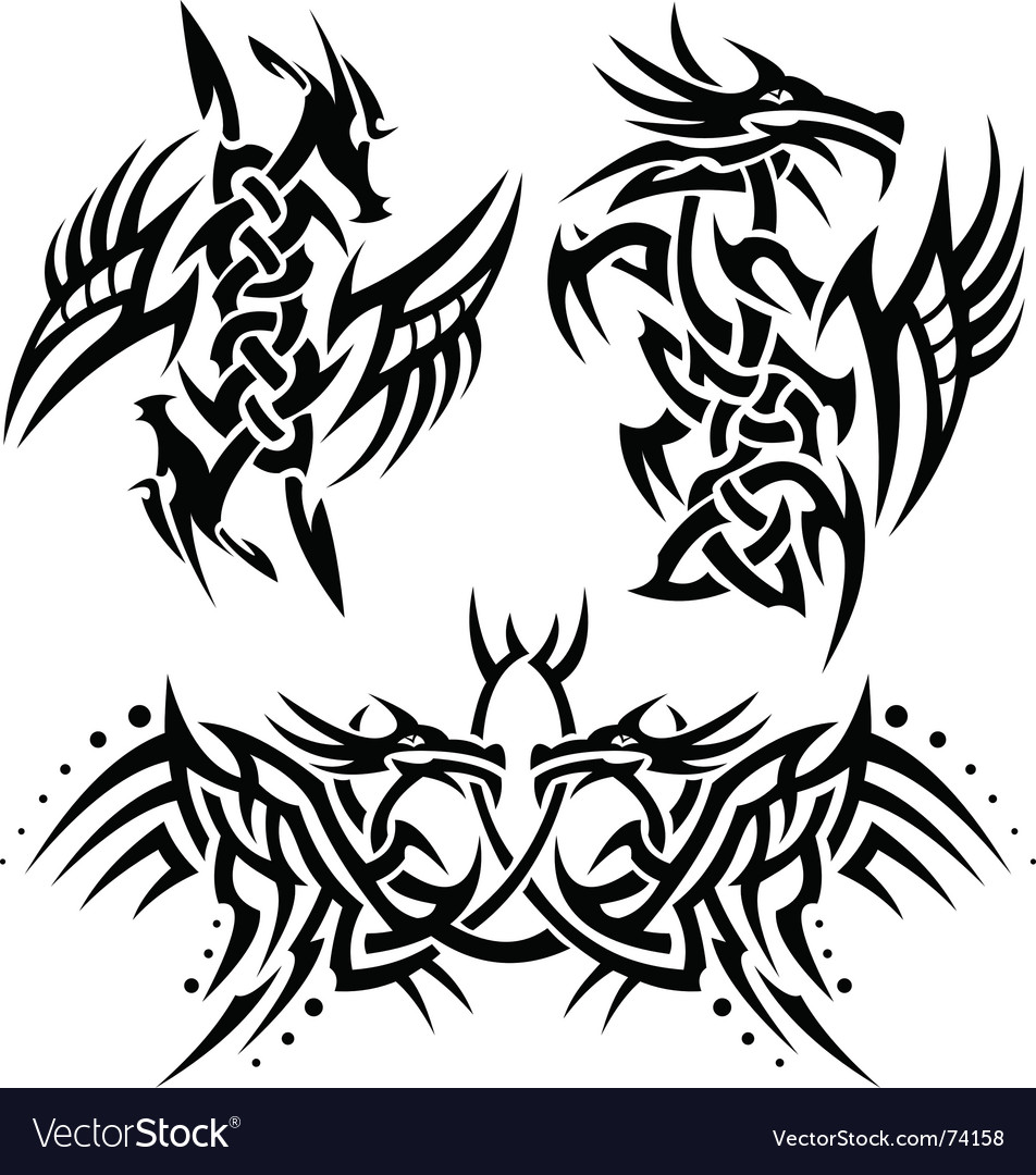 Tattoos Dragons Vector. Artist: Bastetamon; File type: Vector EPS