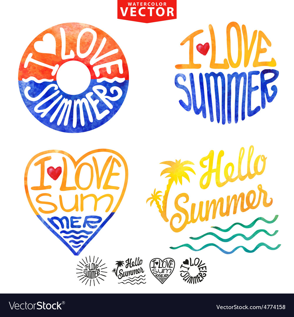 Abstract wtercolor cardbackgroundSummer logo