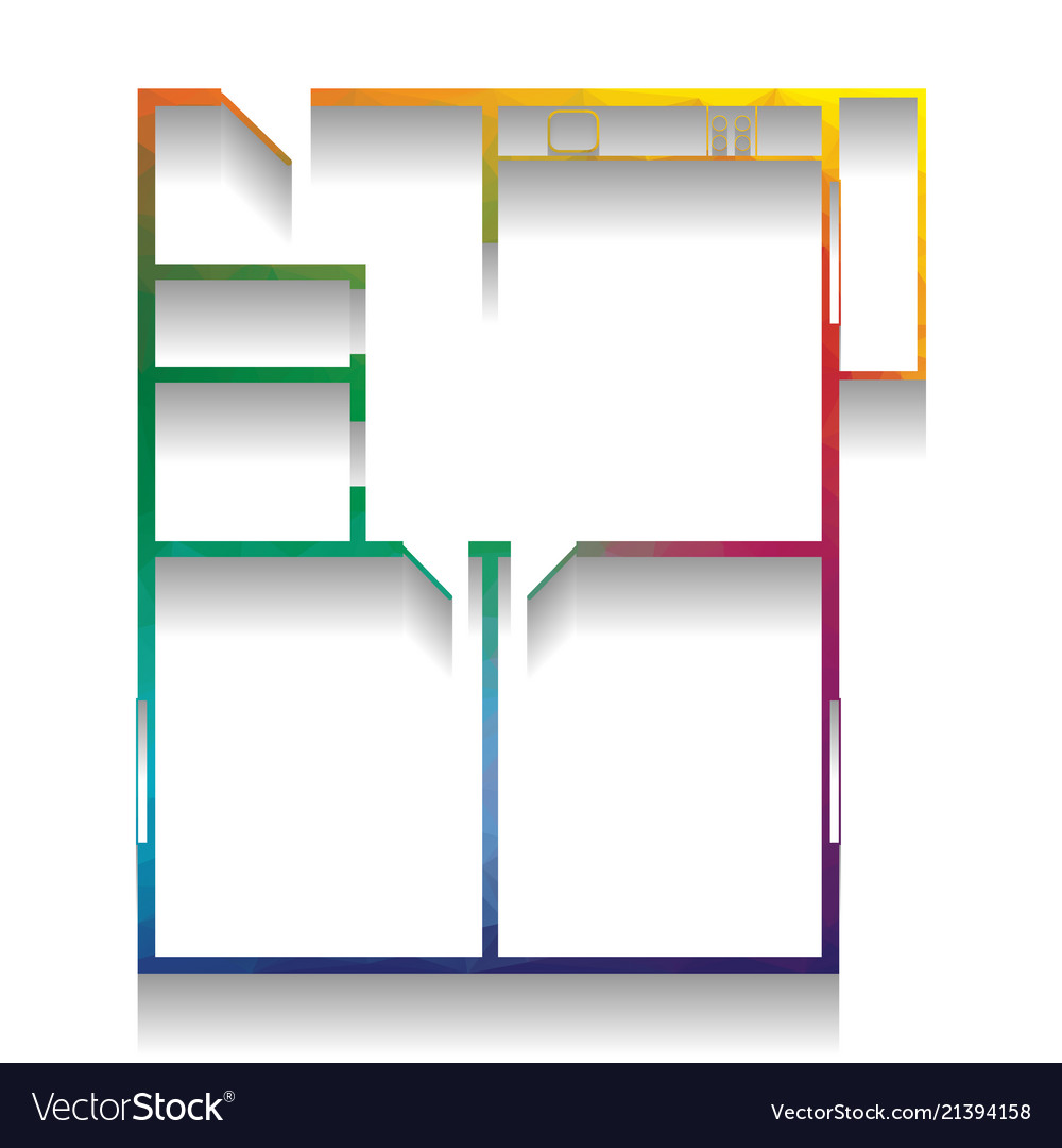 Apartment house floor plans colorful icon