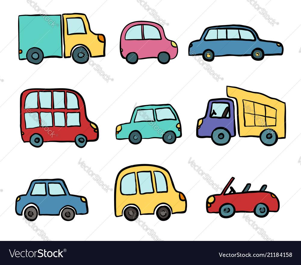 Big set of hand drawn cute cartoon cars for kids Vector Image
