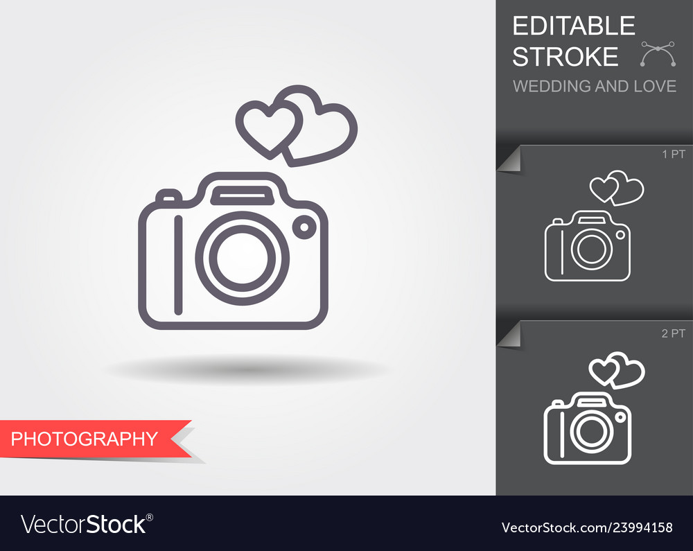 Camera with hearts line icon with shadow and