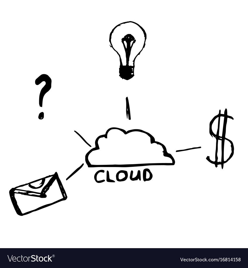 Cloud data sketch hand drawn
