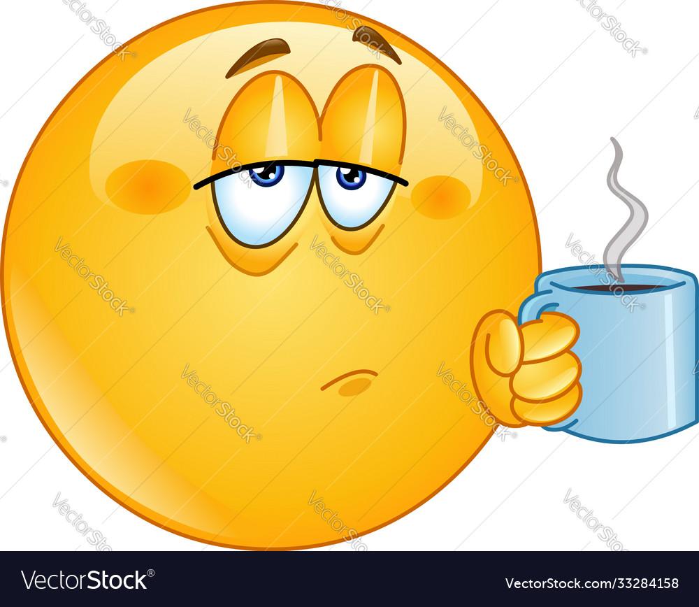 Coffee Morning Emoticon Royalty Free Vector Image