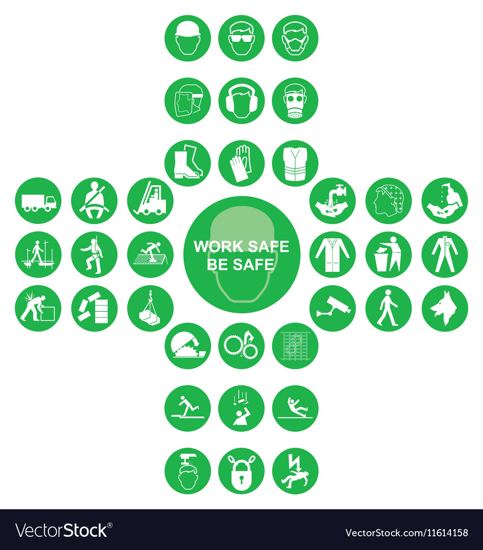 Green cruciform health and safety icon collection vector image