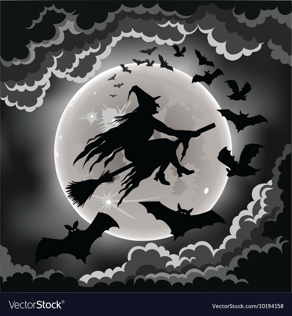 halloween flying witch vector image