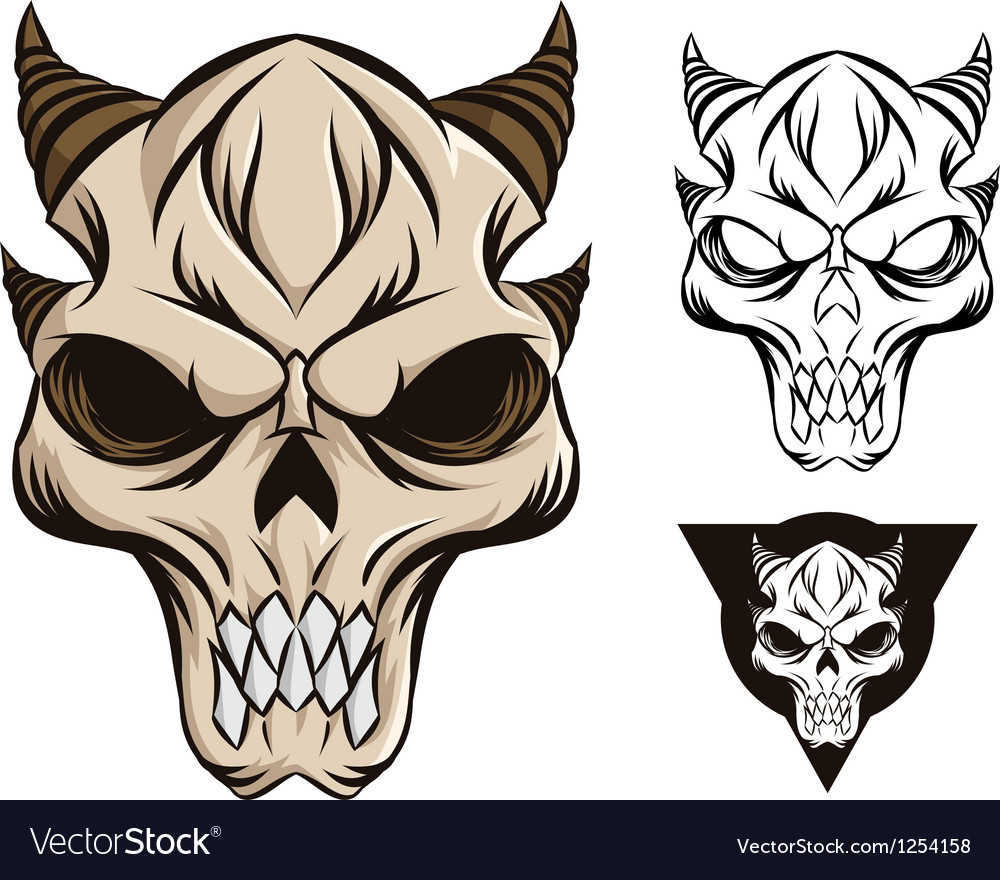 Horned skull vector image