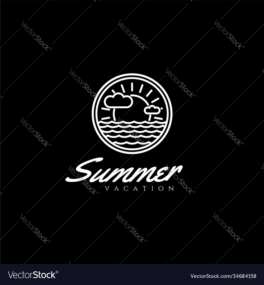 Rustic summer beach vacation travel stamp line