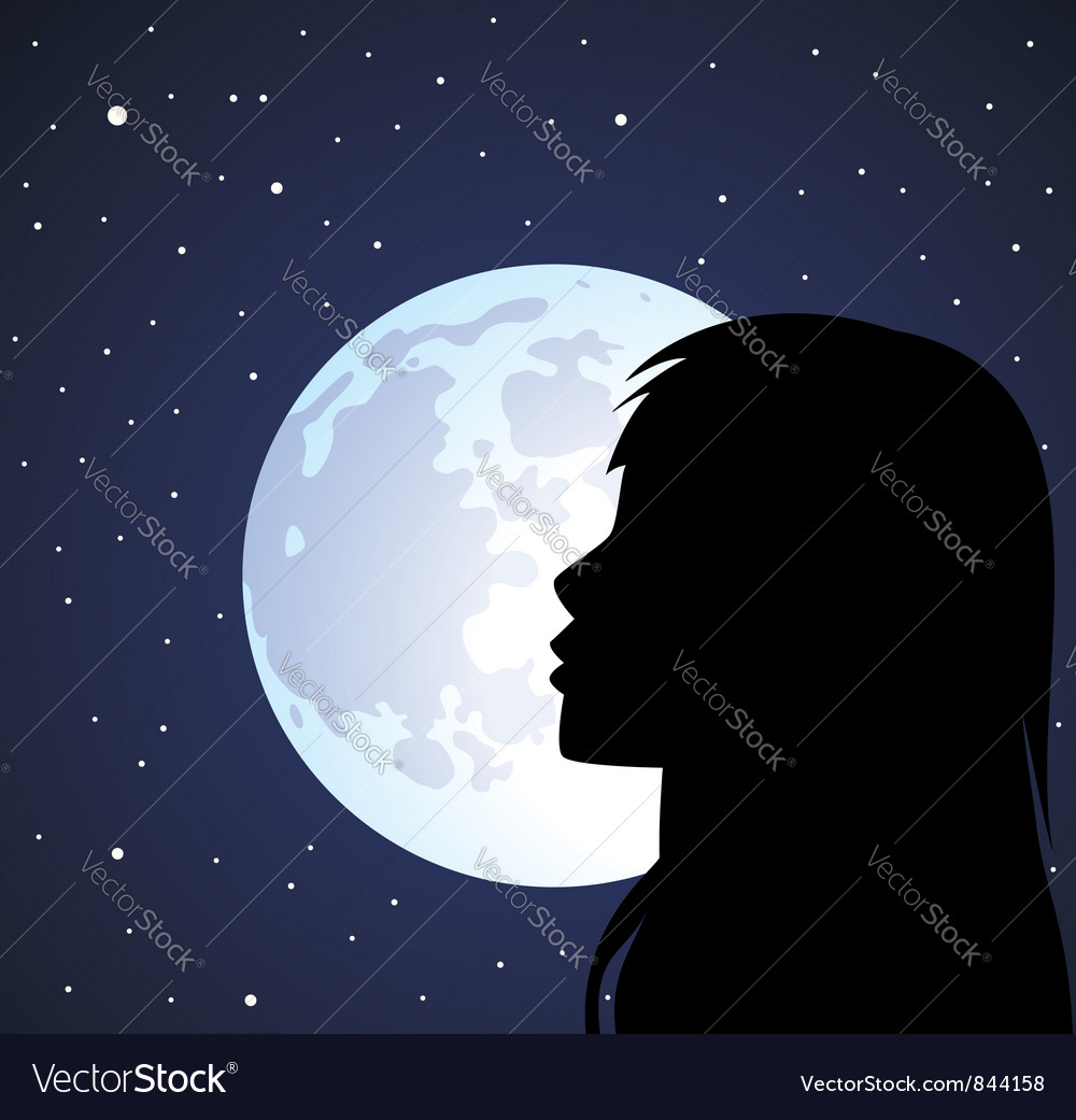 Silhouette Of A Girl And The Moon Royalty Free Vector Image-2495
