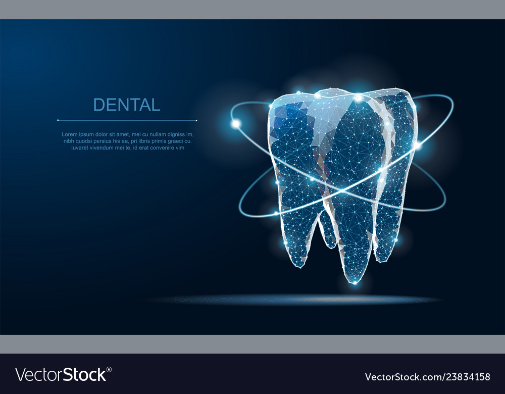 Tooth abstract low poly shine bright tooth