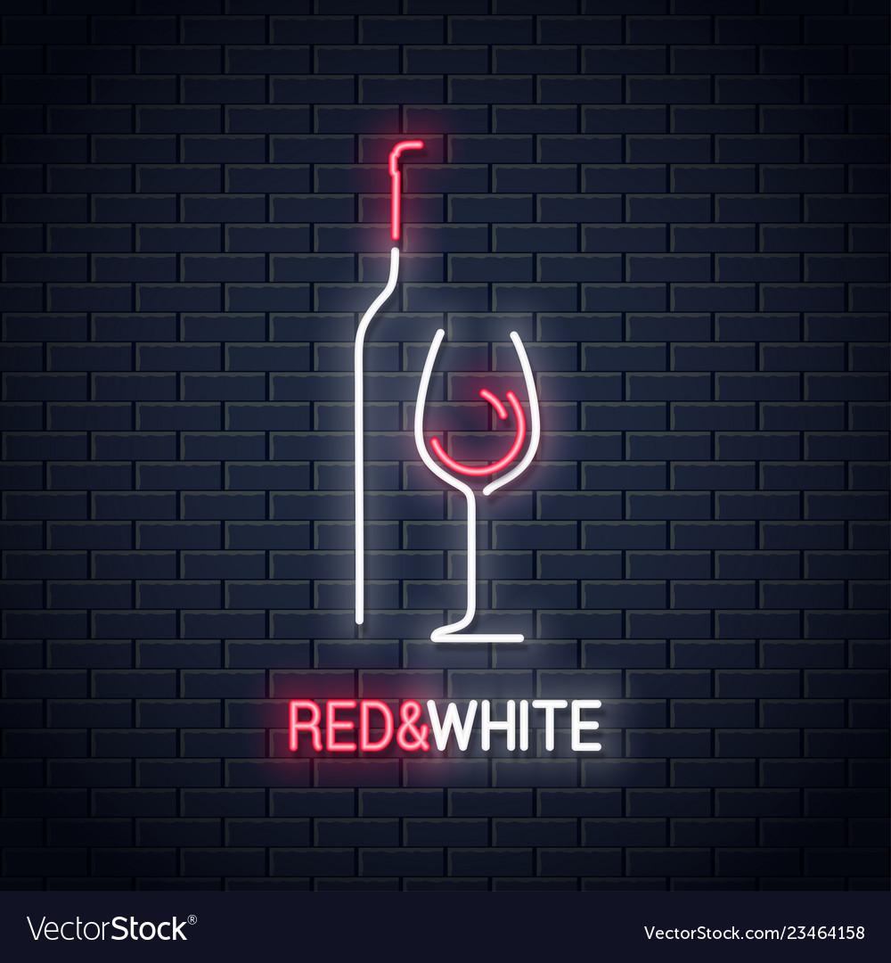 Wine glass neon sign bottle of wine neon logo