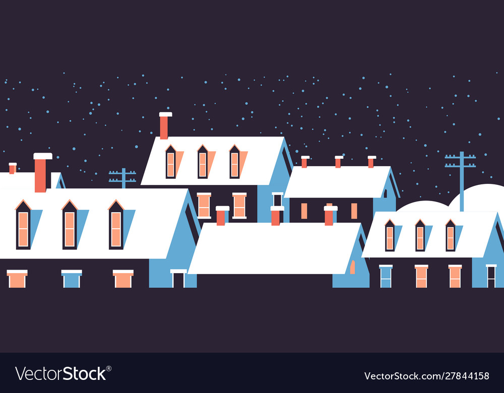 Winter houses with snow on roofs night snowy