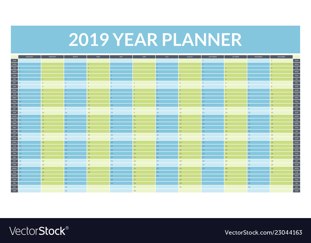 image relating to Yearly Planner Template called 2019 calendar year planner thought vacant template