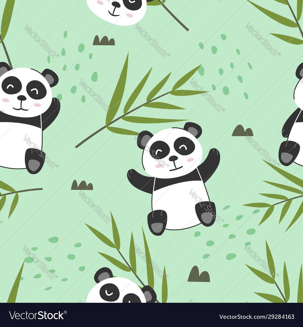 Adorable little panda seamless pattern