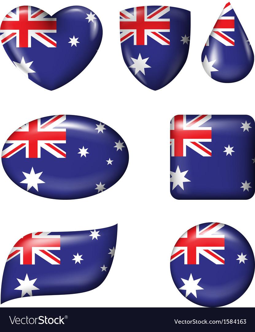 Australian Flag in various shape glossy button