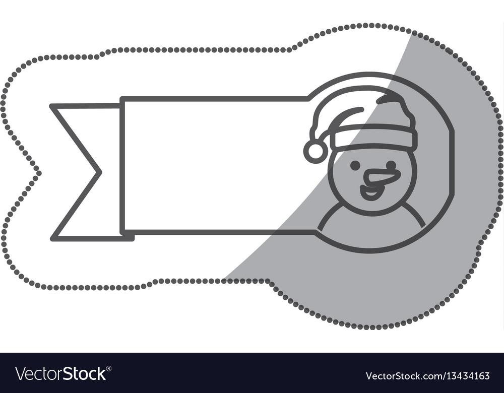 Figure sticker ribbon snowman icon