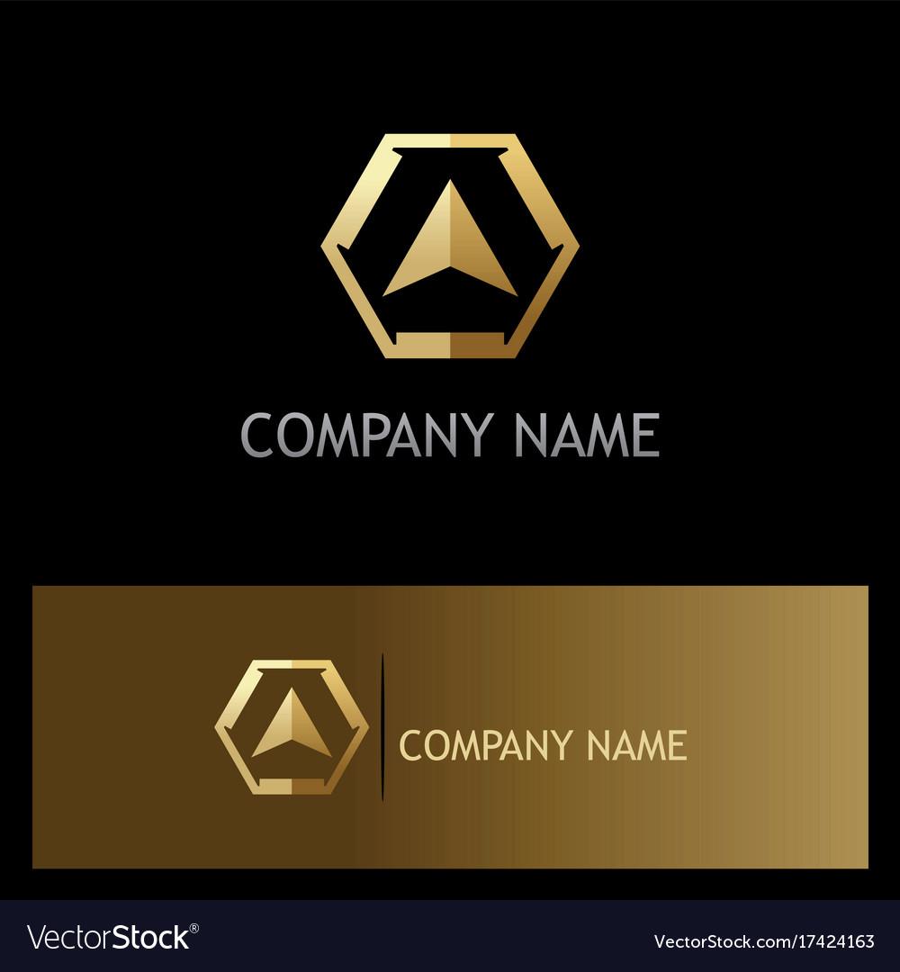 Gold triangle arrow navigation logo vector image