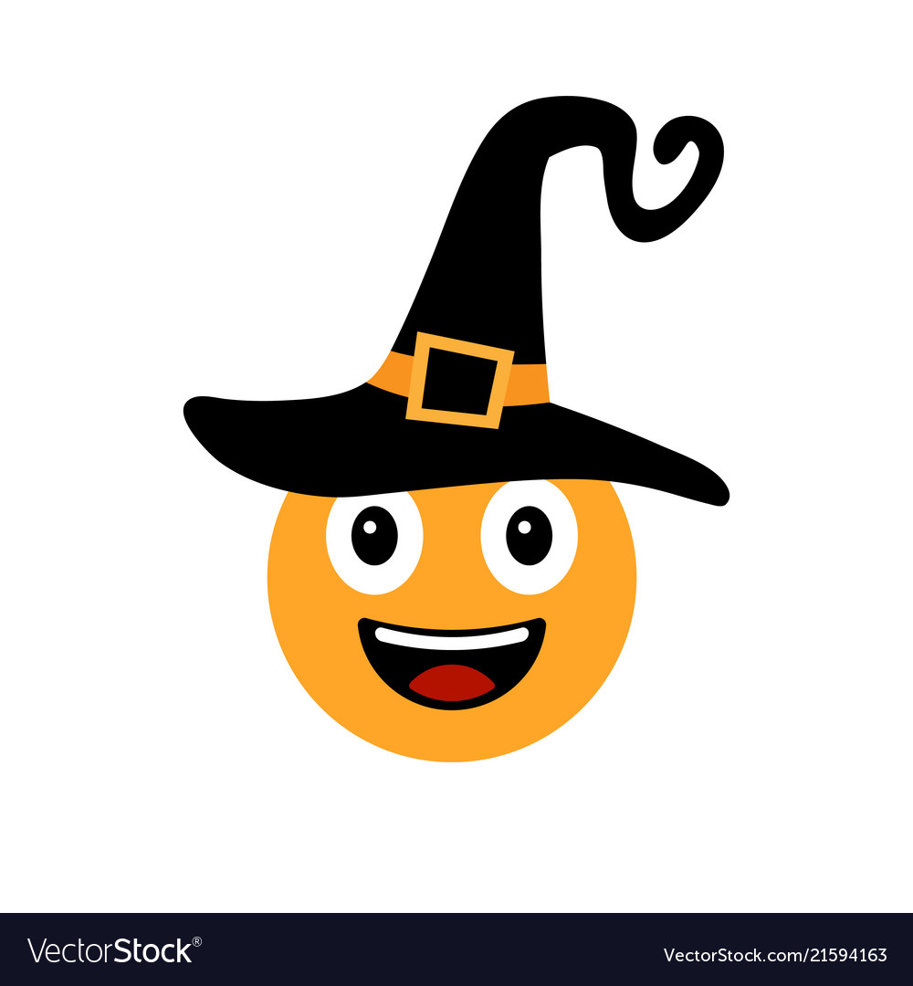 Happy halloween smiley in witch hat