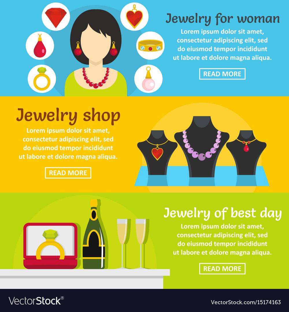 Jewelry gift banner horizontal set flat style