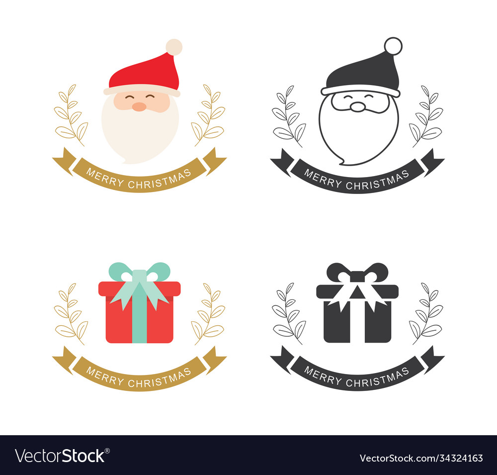 Merry christmas typography label with symbols