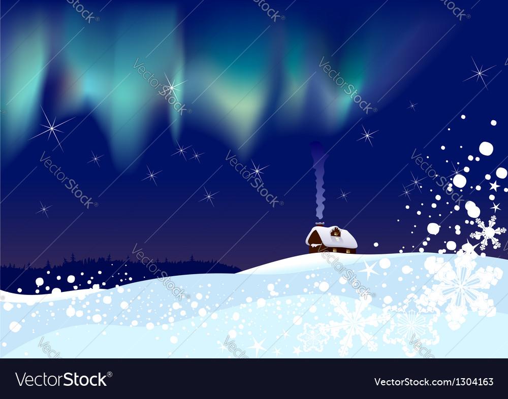 Northern lights at Christmas vector image