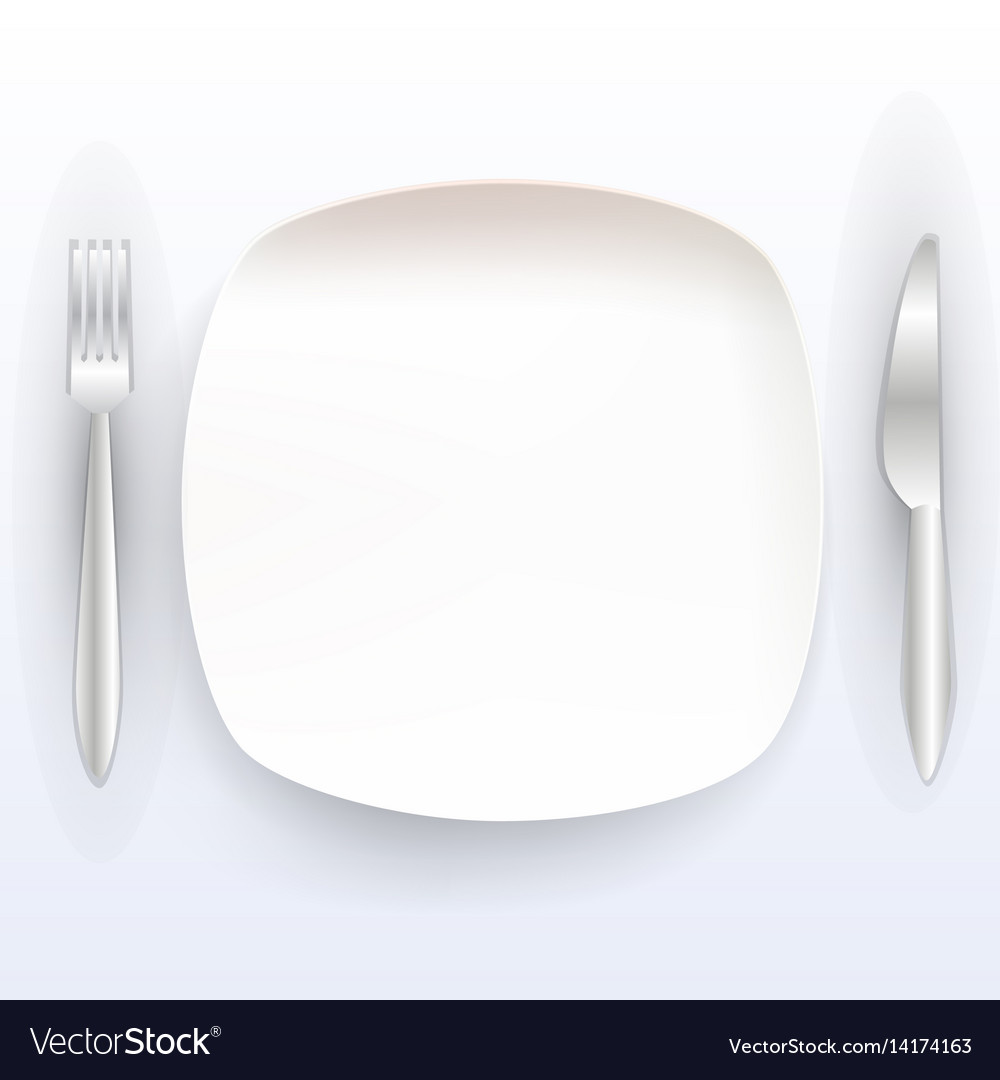 Plate with tools on a white background vector image