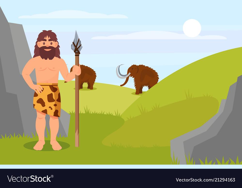 Prehistoric caveman character in animal skin