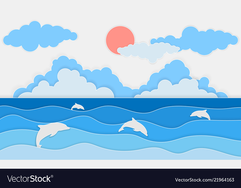 Sea view with dolphin and clouds paper cut and