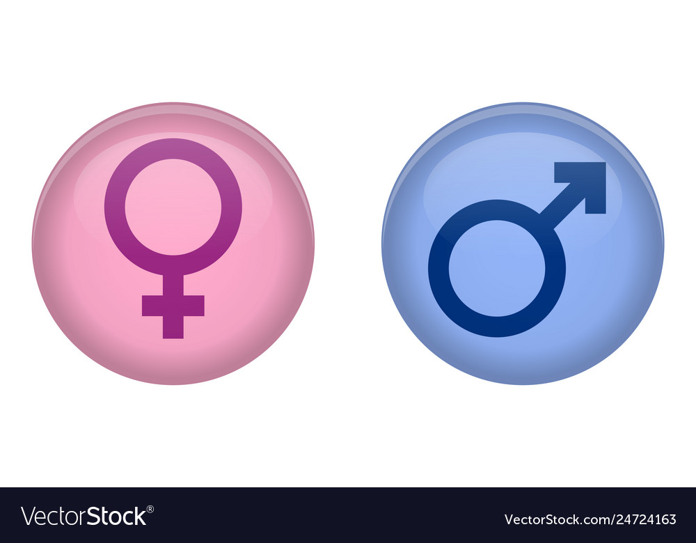 Simple male and female sign 3d circle button pink