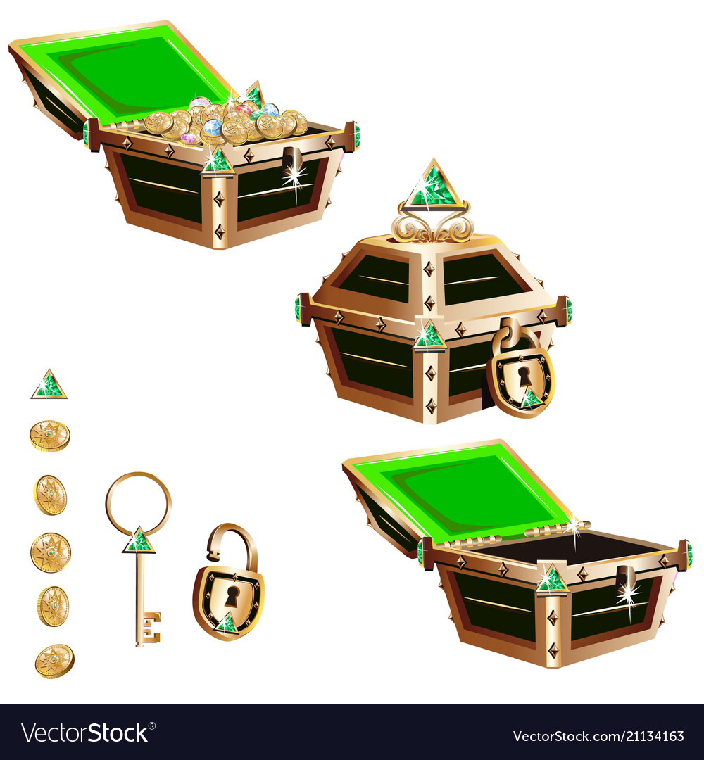 Treasure chest with a gold frame and crystals