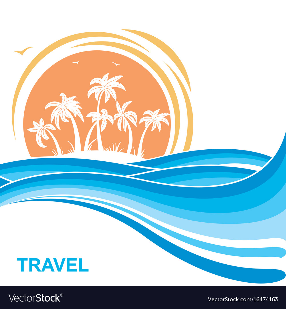 Tropical island and sunsea waves background