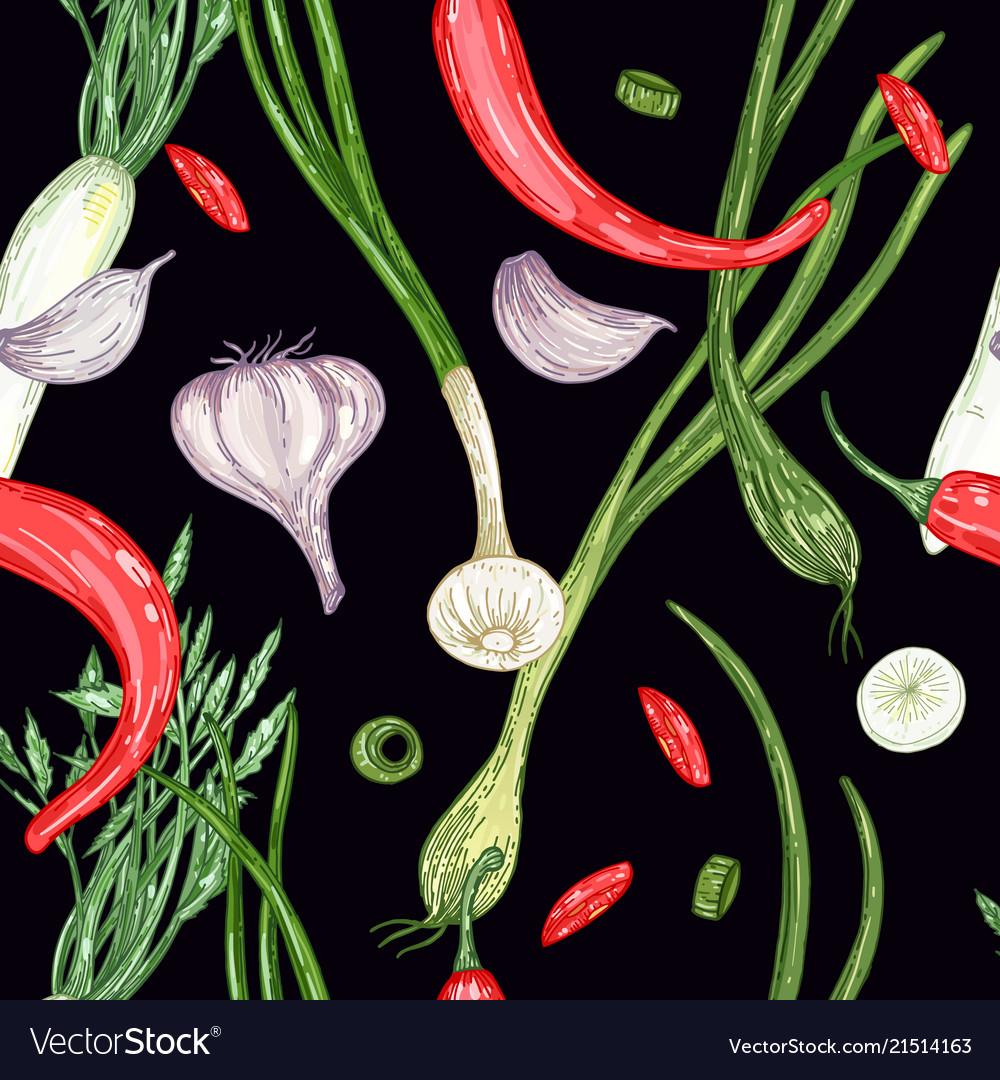Vegetable seamless pattern on black background