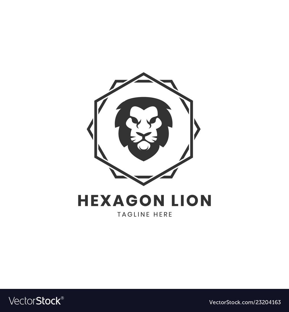 Vintage lion logo design template with hexagonal