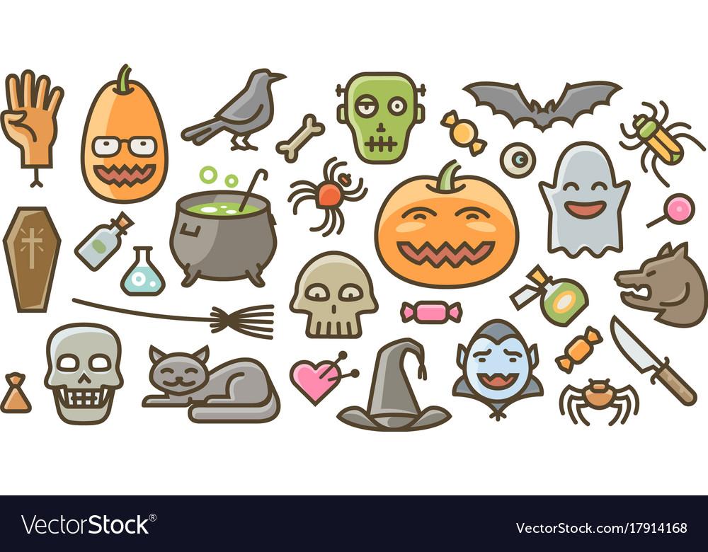 30 flat style halloween graphics