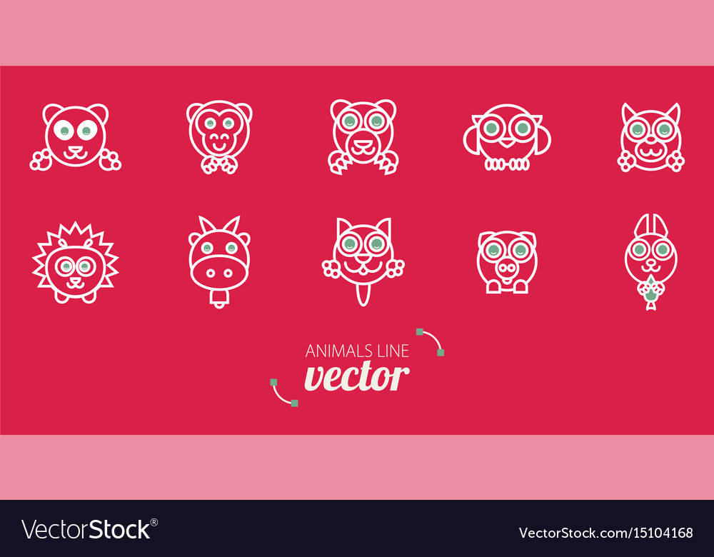 Animals outline flat style