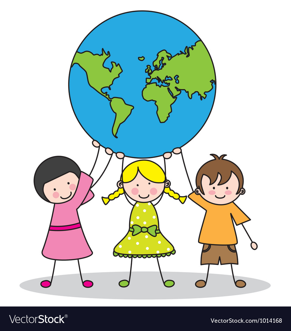 Children holding the globe
