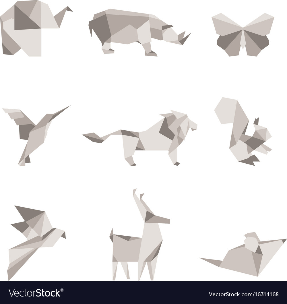 Color Origami Animals Royalty Free Vector Image - Origamis-animales